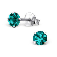 Quality 925 Sterling Silver Earrings - Round Blue Zircon CZ Studs 4mm - Gift Box
