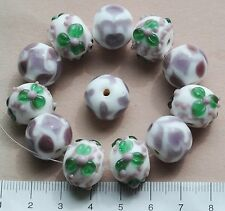 12 x white, purple and green lampwork  glass beads (6 / 3 / 3)  55 g  125
