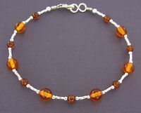 Silver and Amber Anklet or Bracelet in Small to Large Sizes