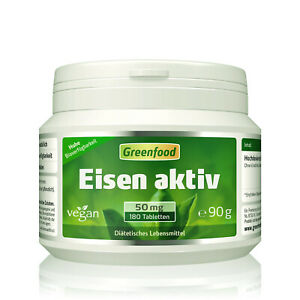 Greenfood Eisen aktiv, 50 mg, 180 Tabletten - hohe Bioverfügbarkeit, vegan