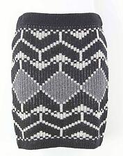 Moda Sz Xs Black Cream Gray Acrylic Wool Knit Skirt F290