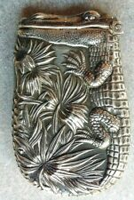 ANTIQUE STERLING SILVER MATCH SAFE ALLIGATOR DESIGN