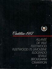 Cadillac Allante DeVille Fleetwood Eldorado Seville 1987 Stati Uniti Mercato Opuscolo