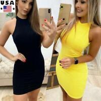 Womens Halter Backless Mini Dress Ladies Sleeveless Party Evening Bodycon Dress