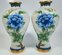 Pair of Antique 1920s Chinese Cloisonne Enamel Floral Motif on Bronze Vases