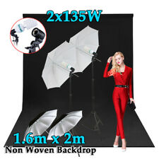 Photography Continuous Umbrella Lighting Light Stand Kit & 1.6X2M BLACK Backdrop