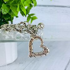 Brighton Jewelry Womens Pebble Heart Bracelet Silver Plated Double Chain