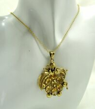 Lovely Vintage Large Gold Gilded Silver And Citine Coloured Spinel Pendant