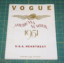 February Vogue 1951 Rare Vintage Vanity Fair Fashion Design Collection Magazine