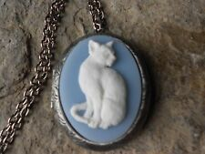 WHITE CAT CAMEO ANTIQUED SILVER PLATED LOCKET - BLUE,  CAT LOVERS GIFT