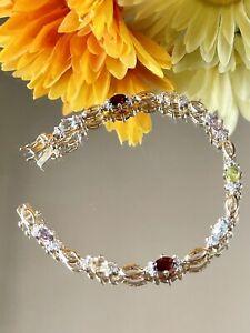 Ross Simmons Gold Vermeil 925 Sterling Silver Multi-Gemstone Link Bracelet - 7.5