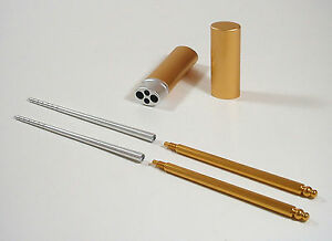 Deluxe XL Gold Portable Pocket Size Aluminum Chopsticks High Quality Alloy NEW !