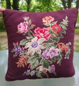 "Ralph Lauren Brittany Needlepoint Wool Burgundy Floral Throw Pillow w/Insert 16"""