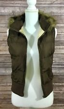 Aeropostale Womens Sleeveless Hooded Zip Vest Small Brown Tan Casual GUC E8