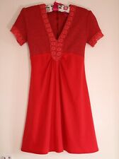 Vintage A-line red 70s mini dress size 8 to 10