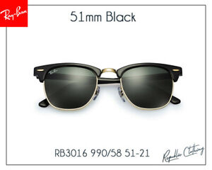 Ray-Ban RB3016 W0365 Clubmaster Sunglasses Black/Gold Frame