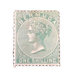 BERMUDA, SCOTT # 6, 1/- VALUE GREEN 1865-67 QV ISSUE MNG