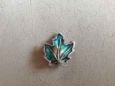 Enamel Maple Leaf Canada Brooch Vintage 925 Solid Silver &