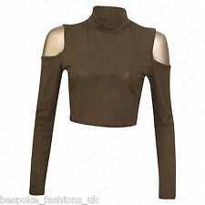 Ladies Womens Long Sleeve Shoulder Cut out Ribbed Polo Turtle Neck Crop Top 8-14 Khaki SM 8-10