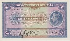 More details for p19 malta ten shillings banknote in mint condition issued in 1940