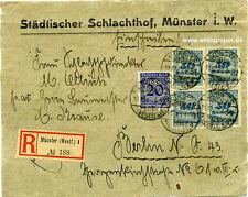 Reco Brief-Vorderseite MiF Übergangsfrankatur Inflation Münster n. Berlin 1923