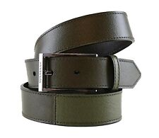 BURBERRY Genuine Leather Canvas Green Men's Belt 3505 Size 44/110