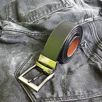 "Mens Leather Reversible Belts Metal Buckles - Black Brown Tan - Sizes 26"" - 60"""