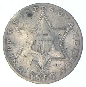 RARE Silver Trime 1857 Three Cent Silver 3 Cent Early US Coin Look it up! *005