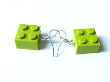 Boucles d'oreilles / earrings LEGO, briques 2x2 vert clair