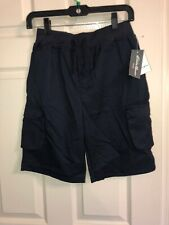 Eddie Bauer Uniform Full Elastic Waist Navy Cargo Shorts Size 6 Boys Nwt