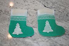 "Vintage 3 1/2"" Green Handmade Christmas Stocking Christmas Tree Lace"