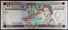 Fiji, 1 dollar Specimen, ND (1980) P-76s, UNC, Signatures: Barnes - Tomkins