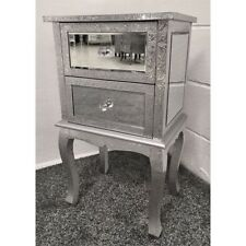Silver Metal Embossed Mirrored 2 Drawer Bedside Cabinet Table Chest Of Drawers
