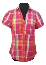 NEXT Shirt Size 14 Pink w/ Multi Check *NEW w/ TAGS* Cotton Summer Holiday Party