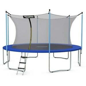 12 FT Round Trampoline With Enclosure Net Spring Pad Ladder Kids Adults Bouncer