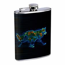 Rainbow Wolf Em2 Flask 8oz Stainless Steel Hip Drinking Whiskey