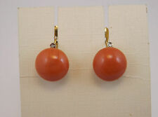 ORECCHINI VINTAGE ANNI '60 CORALLO ORO DIAMANTI GOLD EARRINGS CORAL