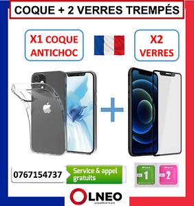 COQUE SILICONE + 2 VERRES TREMPÉ IPHONE 6 6S PLUS 7 8 X XR XS MAX 11 12 PRO MINI