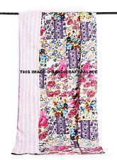 White Floral Patchwork Kantha Quilt Bedspread Indian bed Cover Kantha Bedding