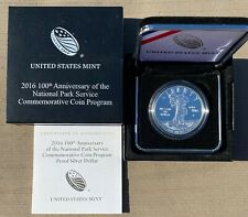 2016-P 100th Anniversary of the National Park Service Proof Silver Coin, Box+COA
