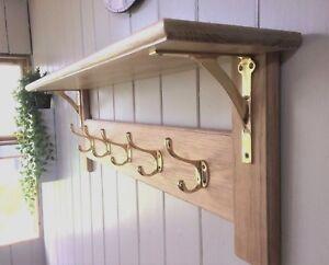Vintage Style Wooden Oak Coat Rack With Shelf – Arched Modern Solid Brass