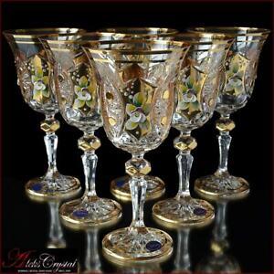 Bohemian Crystal Wine Glasses 20 cm, 220 ml, Shaherezada Gold 6 pc New!