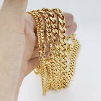 Men 3/5/7/9/11mm 18-36 inch Gold Cuban Link Chain Necklace Stainless Steel Gift