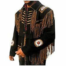 Best Style Western Real Suede Leather Black Jacket, Fringes Beads & Bones-2