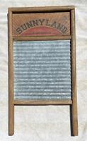 Vintage Rustic Wooden Washboard Columbus Sunnyland Standard Family Size no. 2090