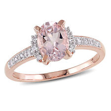 Amour Sterling Silver Morganite and Diamond Accent Ring