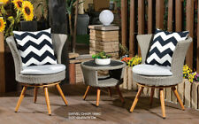 3PCS Swivel Chairs and Table Set of Outdoor Furniture Grey Wicker Cushion Rattan