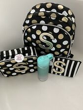 Justice Black Stripe&Dot Backpack Initial 'S' /Wristlet Lunch Box& Water Bottle