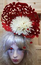 Fascinator hatinator hat races wedding red - one off design