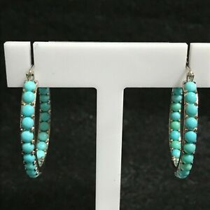 SX Sterling Silver Turquoise Inside Out Hoop Earrings